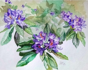 Original Floral Watercolor Painting - 14x11 Purple Azaleas Flowers