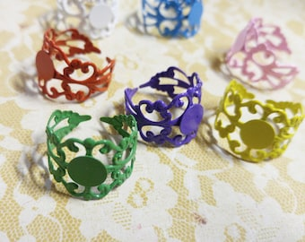 Ring Blanks Blank Ring Base Filigree Rings Wholesale Rings Assorted Rings Jewelry Blanks Ring Making Brass Rings Ring Settings 5 pieces