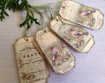 Christmas Favor Tags Gift Tags Silver German Glass Glitter White Green or Cream Shabby Chic Decor Vintage Decor