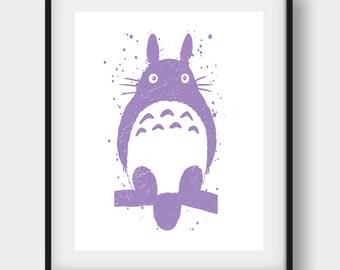 Totoro Print, Studio Ghibli, Miyazaki Hayao, Totoro Home Decor, Totoro Wall Decor, Totoro Wall Art, Watercolor Print, Totoro Printable
