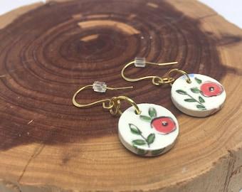 Everyday Earrings Flower Dangle Earrings Gold Flower Earrings Gift for Her Bohemian Earrings Bohemian Jewelry