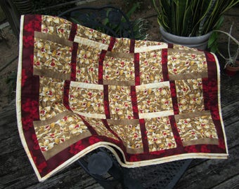 """Quilted Lap Throw """"Tan Orchids"""" 48.5 x 35"""" Wheelchair Quilt, Quiltsy Handmade, Quilted Blanket, Beige and Brown Floral Quilt"""