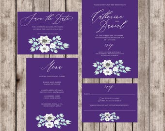 Ultraviolet wedding invitations with floral print and matching accessories