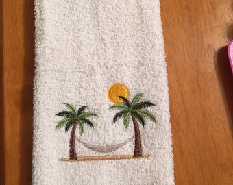 Embroidered ~HAMMOCK in the PALM Trees~ Kitchwn Bath Hand Towel