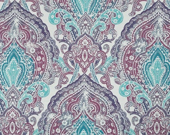 Dark Teal Purple Damask Upholstery Fabric - Large Scale Damask Bedding Euro Sham Fabric - Teal Medallion Pillow - Batik Fabric for Furniture & Teal and Navy Blue Medallion Upholstery Fabric ON SALE