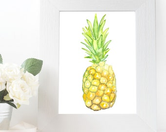Pineapple Watercolour Painting Giclee Print A4