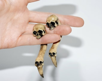 SKULLS Gothic jewelry SKULL jewelry Ear gauge Wicca jewelry Skull earring Fake gauges Skull gauges Dreads Human skull Studded accessories