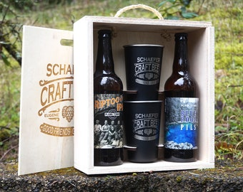 Personalized Beer Gift Box with Pint Glasses
