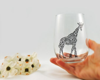 Giraffe glass - Hand painted stemless wine glass - Safari Collection, black