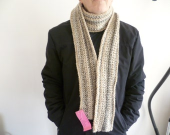 Men's scarf long skinny, taupe, creams and greys