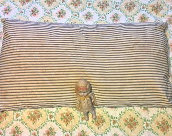 Vintage Feather Down Bed Pillow in Original Ticking #3. True Rest. Nestle In.