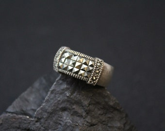 Sterling Silver Art Deco Pave Marcasite Band Ring (AS IS)