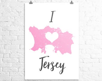 Map of Jersey print wall map art - Channel Islands mapping typography map