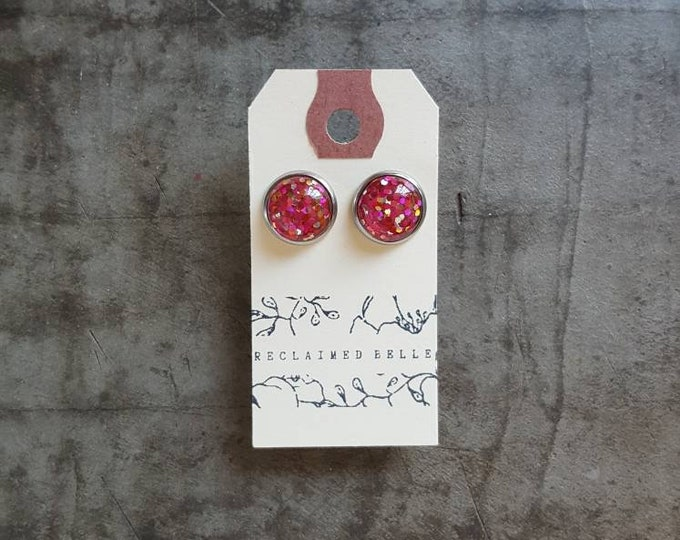 Pink and gold glitter stud on surgical stainless steel posts 12mm