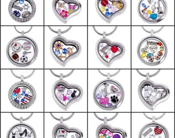 Living Memory Locket Pendant Necklace, Silver Themed Jewelry with Floating Charms Crystal Birthstones, DIY Personalized Locket with Gift Box