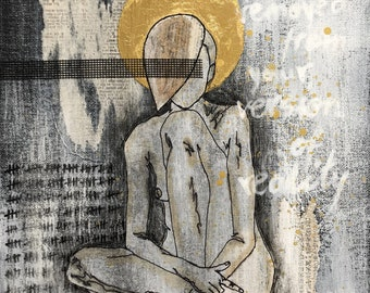 mixed media figurative painting gold gray collage art