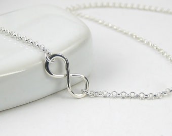 Small Infinity Necklace, Sterling Silver Necklace 925, Infinity Pendant Necklace, Figure Of Eight, Sterling Silver Jewellery, Rolo Chain
