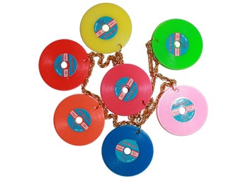 Vintage Kitsch Vinyl Record Necklace - Vinyl record collector jewelry kitschy earring jewelry wax colored vinyl Dead stock retro pin up