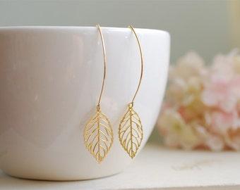 Gold Leaf Earrings. Filigree Leaf Earrings. Long Dangle Leaf Earrings. Leaf Jewelry.  Modern Everyday Earrings, Gift for Her, Mom, sister