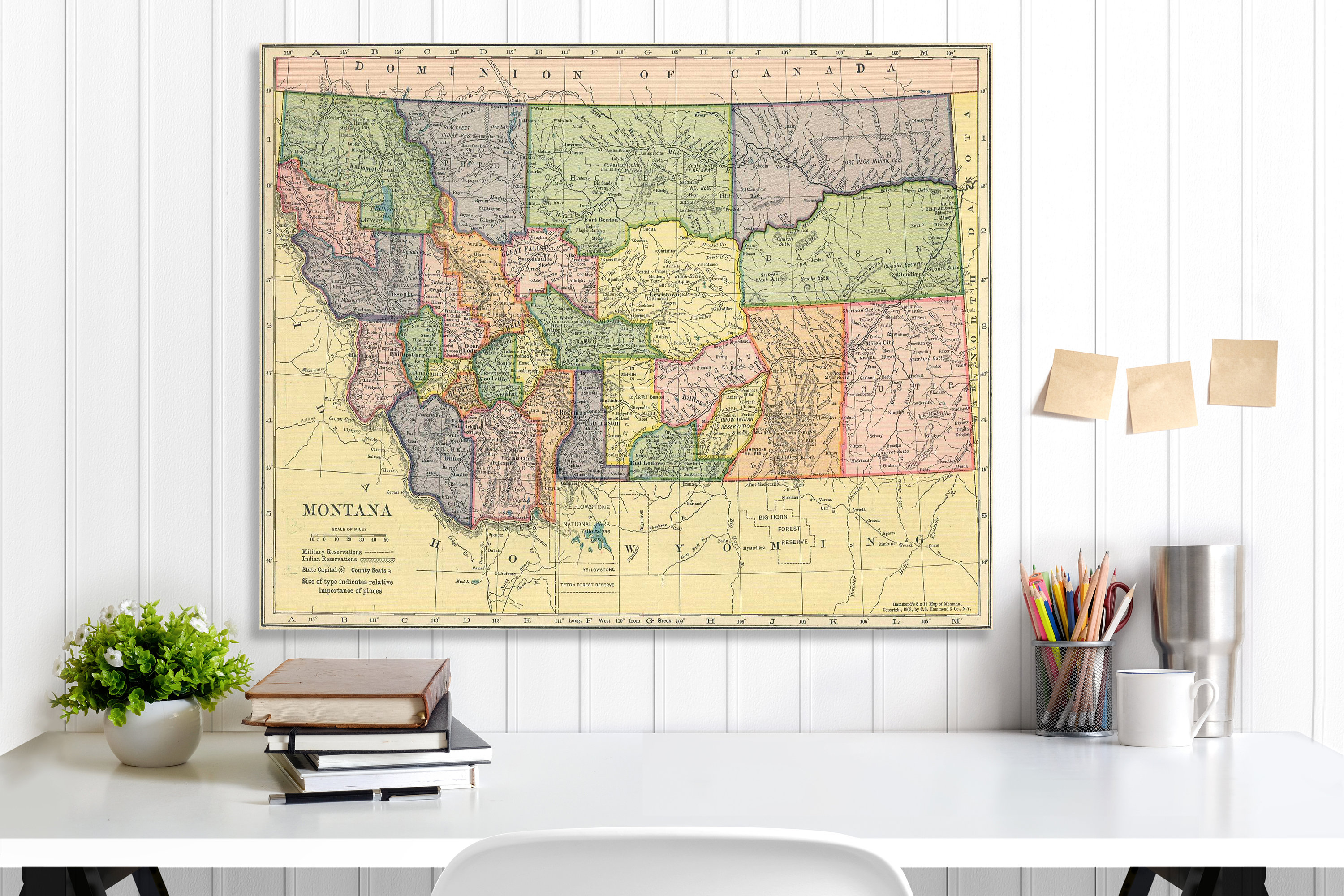 Montana State Map, Montana Map Canvas, Antiqued Montana Map, Canvas ...