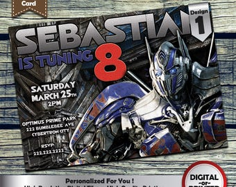 Transformers Birthday Party Invitation customized printable invite for boys or girl of any age + Free Thank You Card