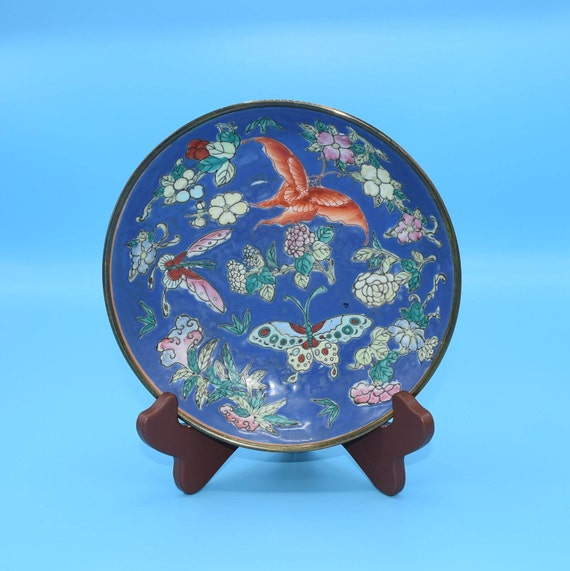 Cloisonne Butterfly Enamel Brass Bowl Vintage Blue Enamel Bowl Asian Brass Decorative Dish Oriental Art Japanese Gift for Her Mothers Day