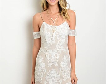 White Lace Cold Shoulder Dress