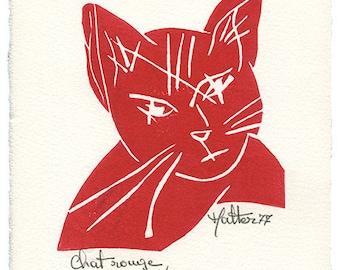 Chat rouge. Linogravure sur papier Velin d'Arches ivoire