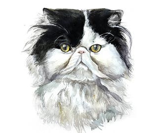 Black and white cat portrait Custom portrait pet portrait custom pet portrait custom persian cat art commission dog painting from Romalena