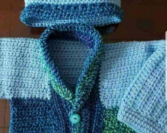 Hand knit cardigan and hat
