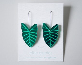 Alocasia leaf dangle / drop earrings   Green mirror   Laser etched and cut acrylic   Handmade