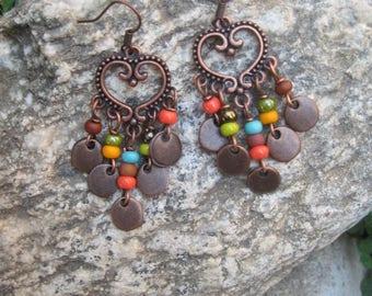 Boho Gypsy Copper Chandelier Earrings - Heart Shaped Hippie Chandelier Earrings - Bohemian Earrings - Boho Jewelry - Hippie Jewelry
