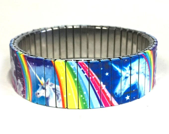Unicorn bracelet-Wrist Art-Stretch-bracelet-Rainbows-Fantasy-Stainless Steel-Sublimation-gift for friend-gift for her-Birthday gift