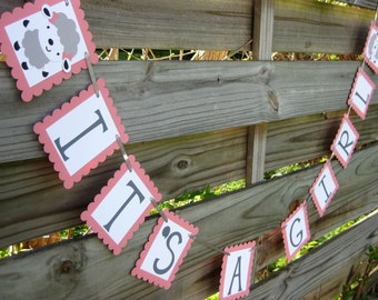 It's A Girl Banner - Little Lamb Theme Baby Shower Decoration