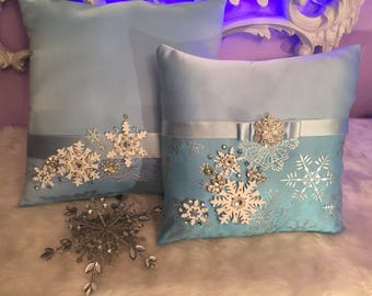Two Pillows ( winter wonderland ) pillow for churh or shoes, crown pillow!