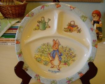 Peter Rabbit Divided Child's Plate, Vintage Nursery Decor