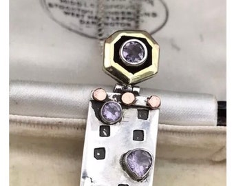 Fab Retro Jewellery Modernist Brutalist 925 Silver And Amethyst Pendant Necklace