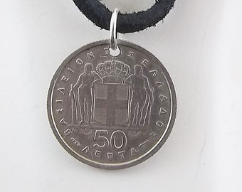 Greek Coin Necklace, 50 Lepta, Coin Pendant, Leather Cord, Mens Necklace, Womens Necklace, Birth Year, 1954