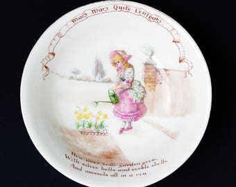 Royal Doulton Child's Pottery Dish/Bowl - Mary Mary Quite Contrary - Nurseryware/Rhymes - William Savage Cooper - Circa 1903 - 1910