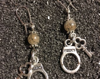 50 Shades of Grey Inspired Handcuff & Key Earrings Sterling Wire Glass Beads