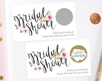 Rustic Floral Bridal Shower Scratch Off Cards - Bridal Shower Game -  Bachelorette Party Game
