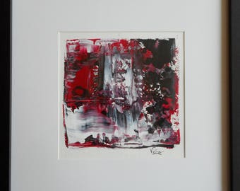 Original black and Red abstract painting in the acrylic-small format Original black and red abstract acrylic painting-Small size