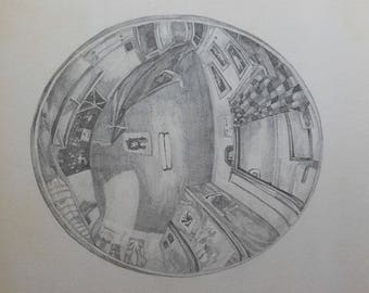 vintage abstract pencil oval drawing