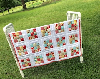 free shipping-Handmade Baby-Toddler-Quilt White-red-turquoise-patchwork -cotton fabric-