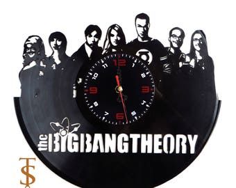 Big Bang Theory  Vinyl Wall Clock  Sheldon Cooper  Leonard Hofstadter  Decor for Bedroom  Living room Gift for him  gift for boyfriend