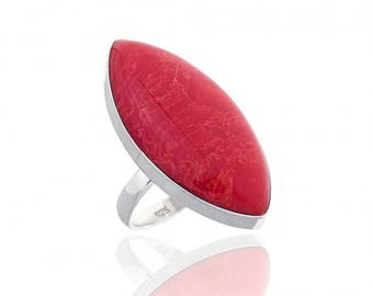 Red Coral Marquise Shaped Sterling Silver Ring