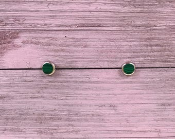 MEXICO Green Malachite Sterling Silver 925 Post Stud Earrings