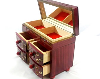 Wooden jewelry box, mini commode, mini commode with mirror, mini commode with drawers, handcarved useful casket,