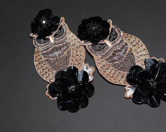 Embroidered owl statement clip on earrings