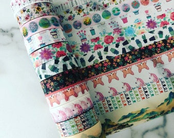 "Full rolls/24"" samples of assorted washi tape"